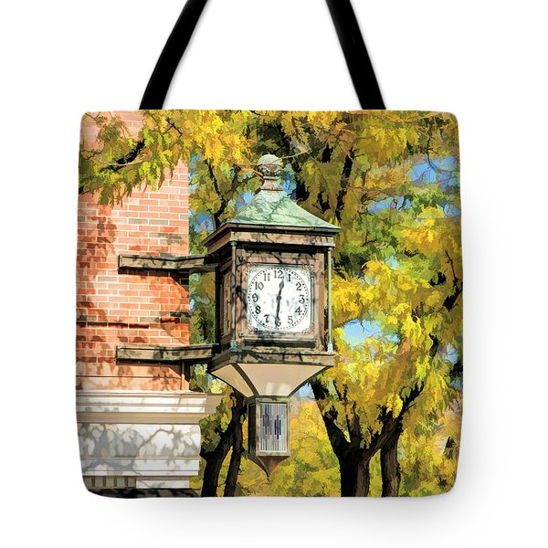 Tote Bag featuring the painting Glen Ellyn Corner Clock by Christopher Arndt