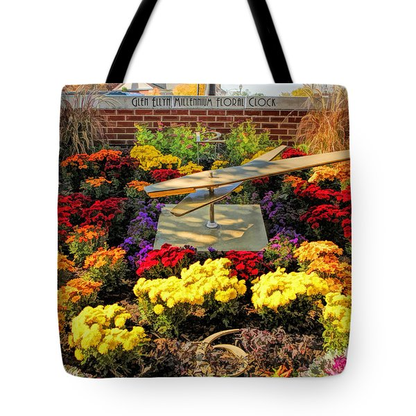 Tote Bag featuring the painting Glen Ellyn Millennium Flower Clock by Christopher Arndt