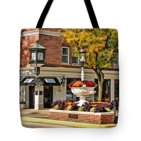 Tote Bag featuring the painting Glen Ellyn Watering Fountain by Christopher Arndt