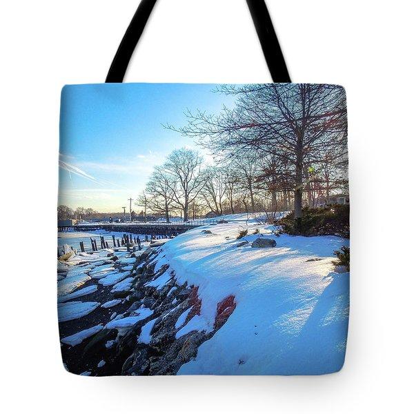 Glen Island Snowfall Tote Bag