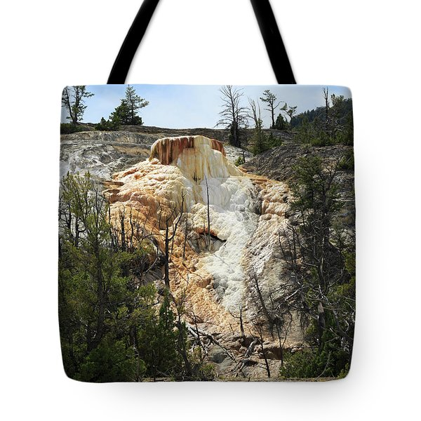 Glen Spring At Mammoth Hot Springs Upper Terraces Tote Bag by Louise Heusinkveld
