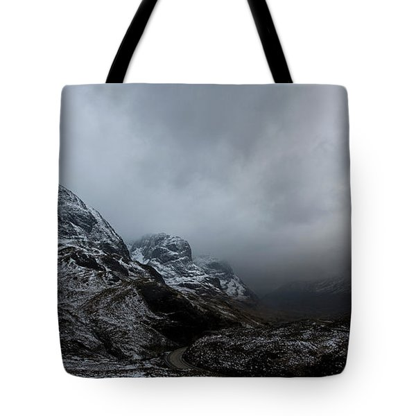 Tote Bag featuring the digital art Glencoe - Three Sisters by Pat Speirs