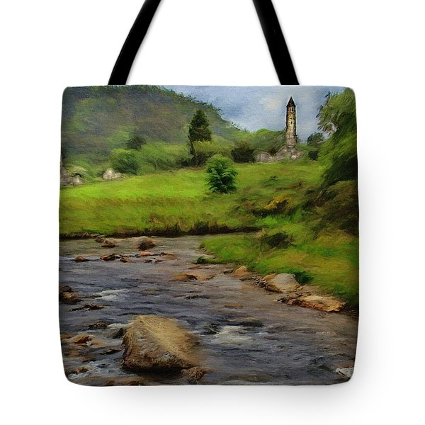 Tote Bag featuring the painting Glendalough In The Distance by Jeff Kolker