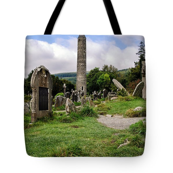 Glendalough Tower Ireland Tote Bag by Martina Fagan