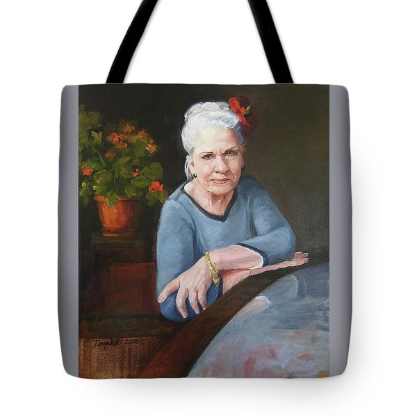 Glenna With Flowers Tote Bag