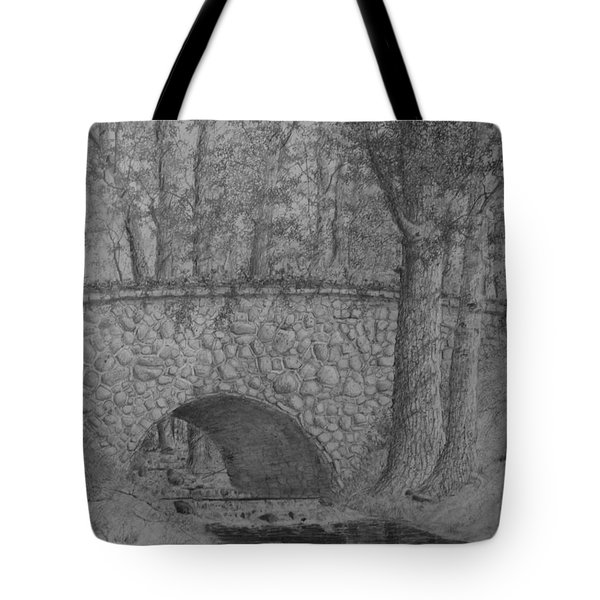 Tote Bag featuring the drawing Glenview Bridge by Jim Hubbard