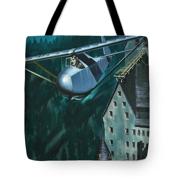 Glider Escape From Colditz Castle Tote Bag by Wilf Hardy