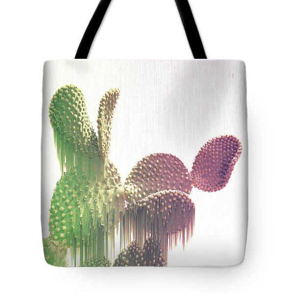 Glitch Cactus Tote Bag