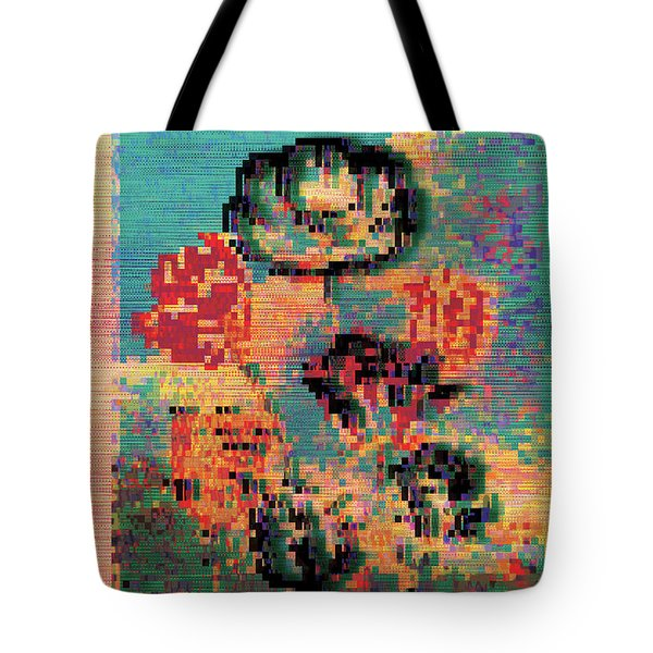 Tote Bag featuring the digital art Glitched Tulips by Bee-Bee Deigner