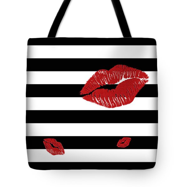 Glitter Red Lips On Black And White Stripes Tote Bag