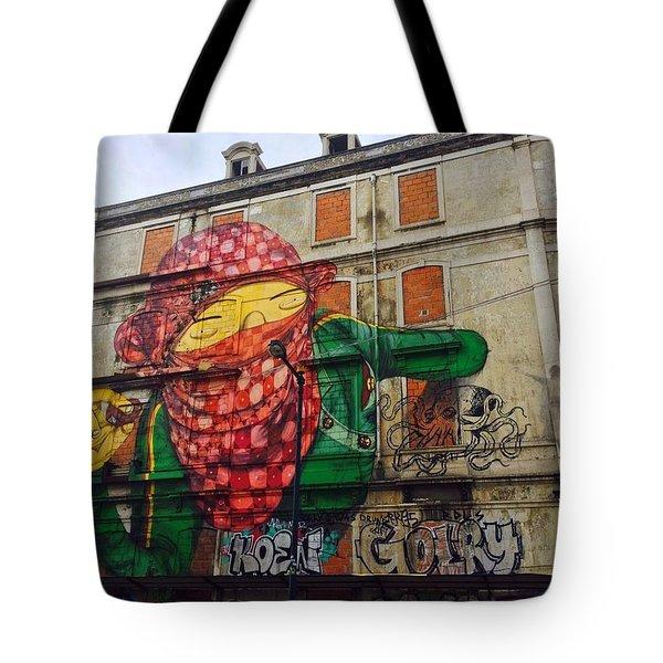 Globe Building Art Painting Tote Bag