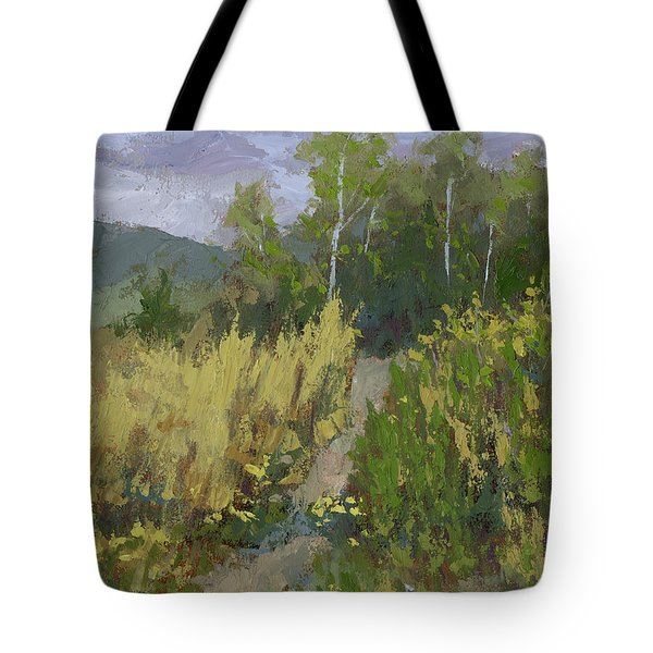 Tote Bag featuring the painting Gloomy Day Hike by David King