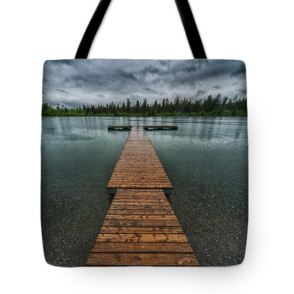 Tote Bag featuring the photograph Gloomy Rainy Day On Norbury Lake by Darcy Michaelchuk