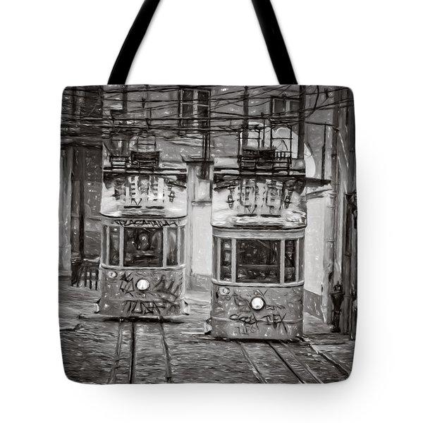 Gloria Funicular Lisbon Bw Tote Bag