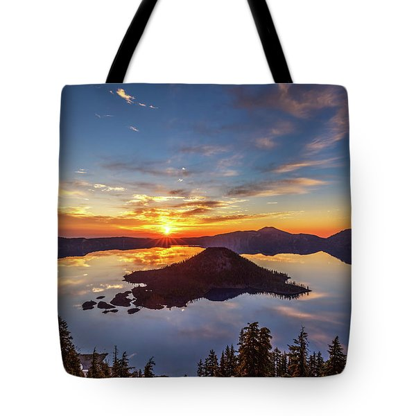 Tote Bag featuring the photograph Glorious Crater Lake Sunrise by Pierre Leclerc Photography