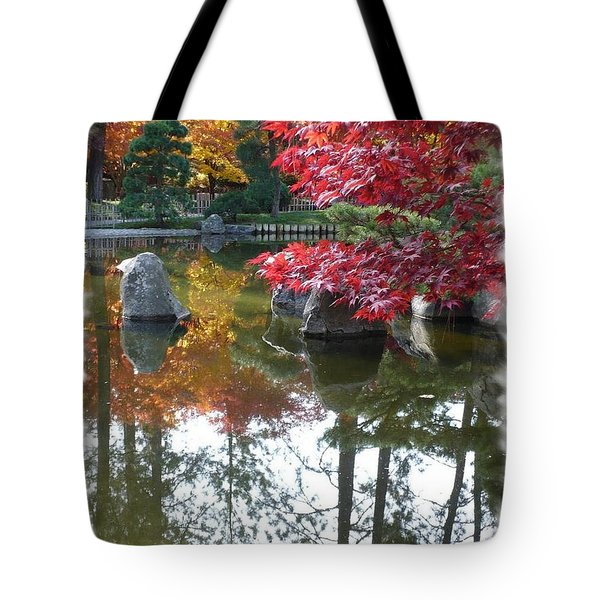 Glorious Fall Colors Reflection With Border Tote Bag by Carol Groenen