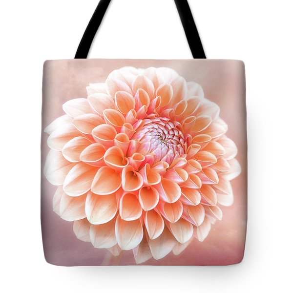 Glorious Salmon Dahlia Tote Bag