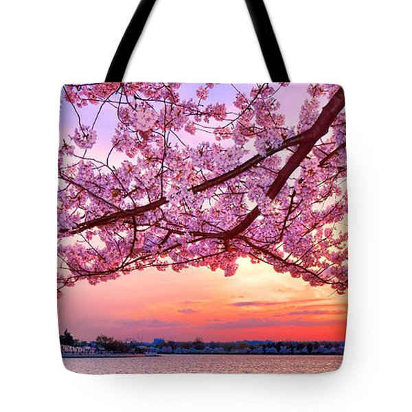 Glorious Sunset Over Cherry Tree At The Jefferson Memorial  Tote Bag