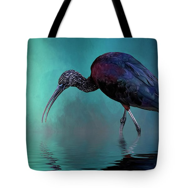 Glossy Ibis Looking For Breakfast Tote Bag by Cyndy Doty