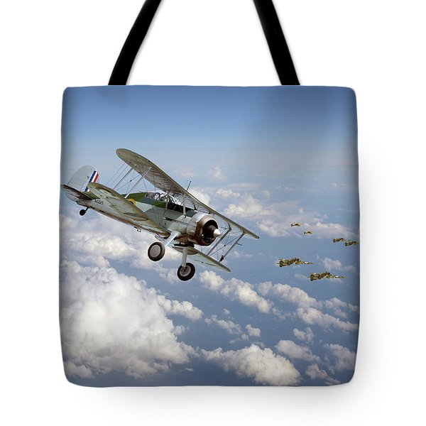 Tote Bag featuring the digital art  Gloster Gladiator - Malta Defiant by Pat Speirs