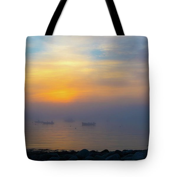 Gloucester Harbor Foggy Sunset Tote Bag