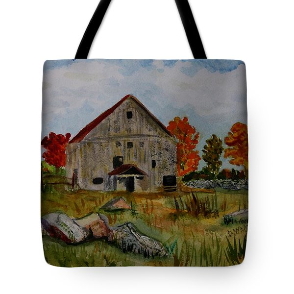 Tote Bag featuring the painting Glover Barn In Autumn by Donna Walsh