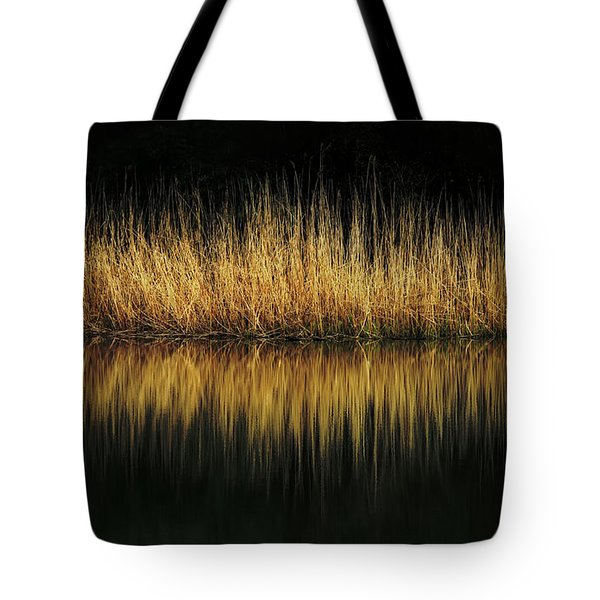 Glow And Reflections At Lakes Edge Tote Bag