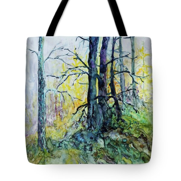 Tote Bag featuring the painting Glow From The Tamarack by Joanne Smoley