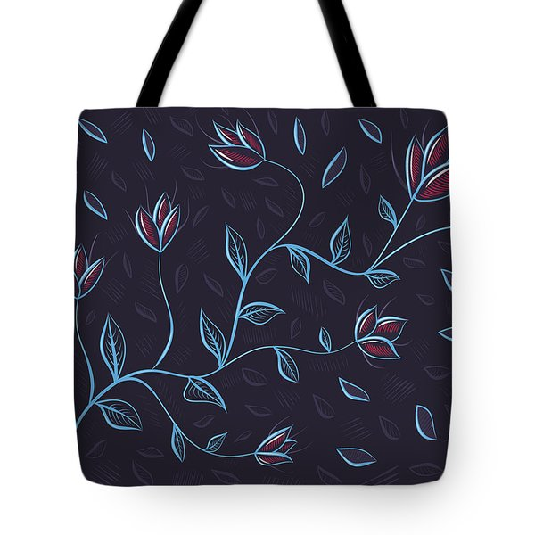 Glowing Blue Abstract Flowers Tote Bag