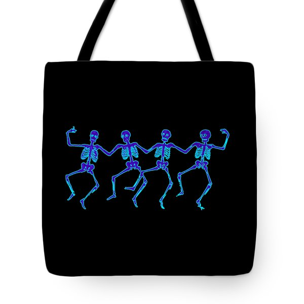 Tote Bag featuring the digital art Glowing Dancing Skeletons by Jennifer Hotai