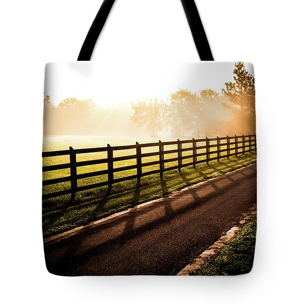 Tote Bag featuring the photograph Glowing Fog At Sunrise by Shelby Young