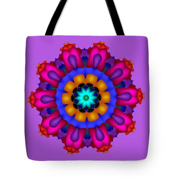 Glowing Fractal Flower Tote Bag