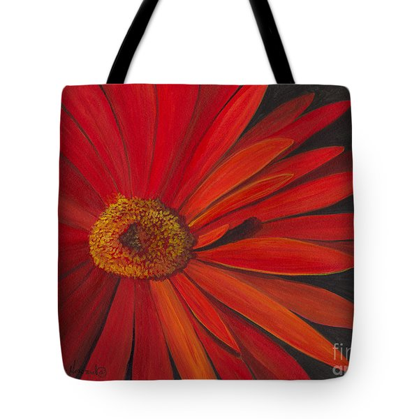 Tote Bag featuring the painting Glowing Gerber by Phyllis Howard