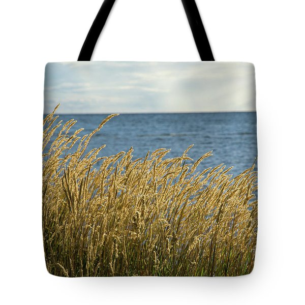 Glowing Grass By The Coast Tote Bag