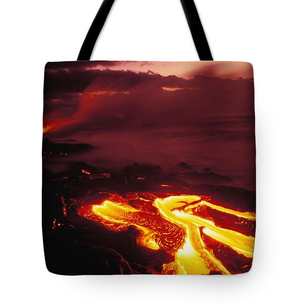 Glowing Lava Flow Tote Bag by Peter French - Printscapes