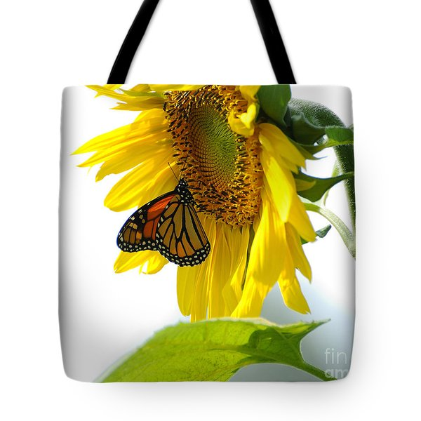 Glowing Monarch On Sunflower Tote Bag by Edward Sobuta