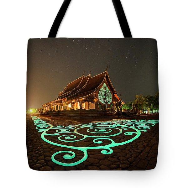 Tote Bag featuring the photograph Glowing Wat Sirintorn Wararam Temple, Ubon by Pradeep Raja Prints