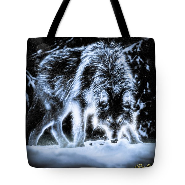 Tote Bag featuring the photograph Glowing Wolf In The Gloom by Rikk Flohr