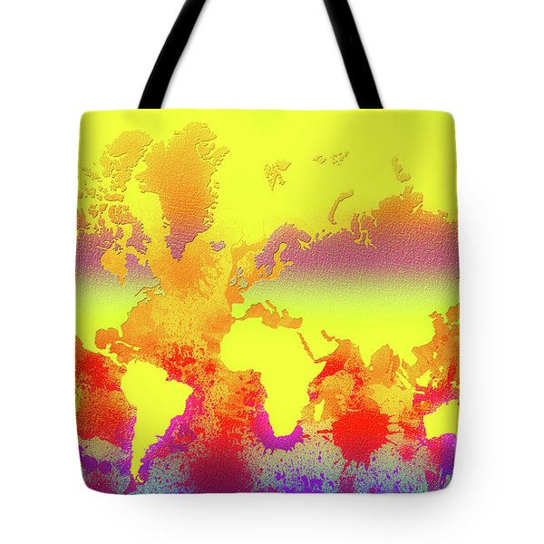 Glowing World Map Tote Bag