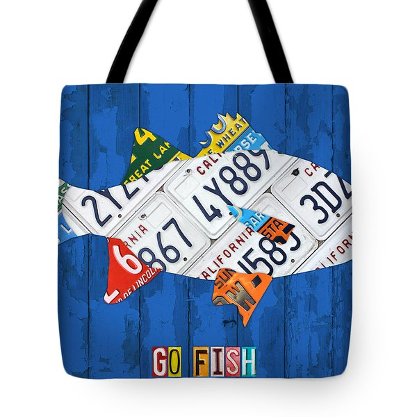 Go Fish Freshwater Bass Recycled Vintage License Plate Art Tote Bag
