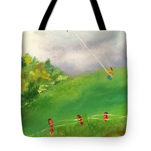 Tote Bag featuring the painting Go Fly A Kite by Denise Tomasura