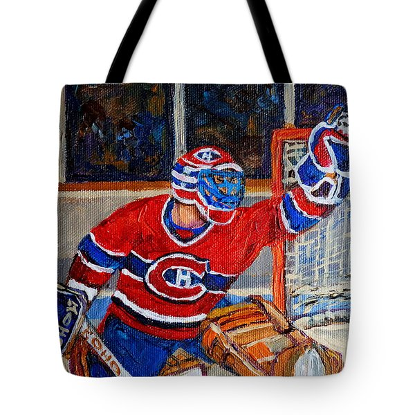 Goalie Makes The Save Stanley Cup Playoffs Tote Bag