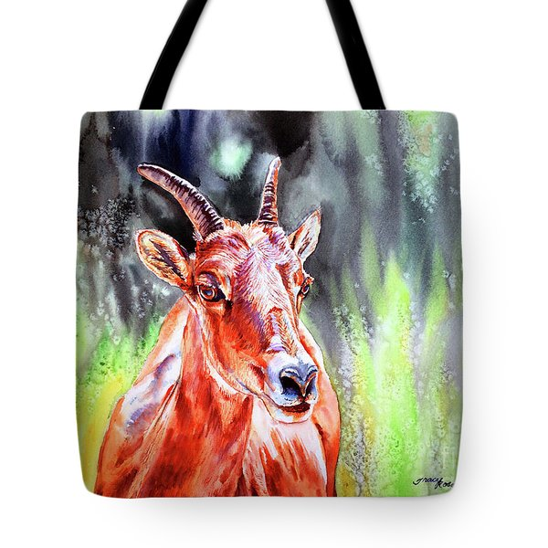 Goat From The Mountain Tote Bag by Tracy Rose Moyers