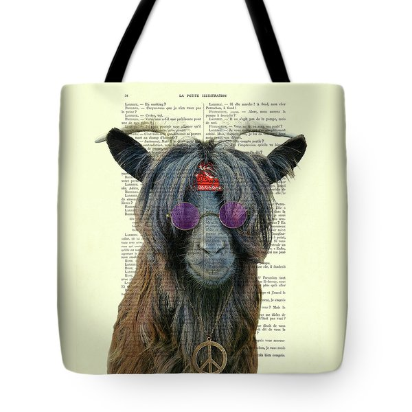 Goat In Hippie Clothes With Purple Glasses And Peace Necklace Tote Bag