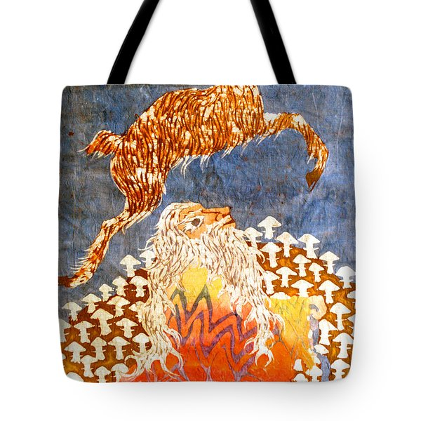 Goat Leaping Over Wood Elf Tote Bag by Carol  Law Conklin