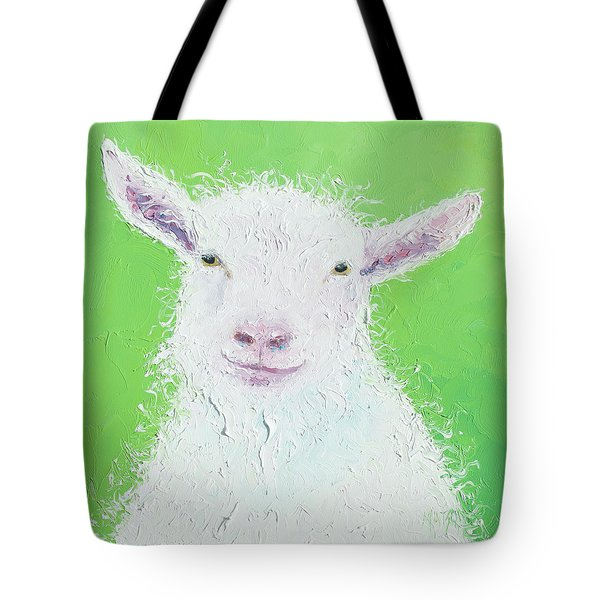 Goat Painting On Apple Green Background Tote Bag