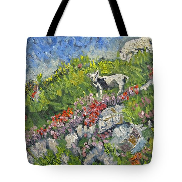 Goats On Hill Tote Bag