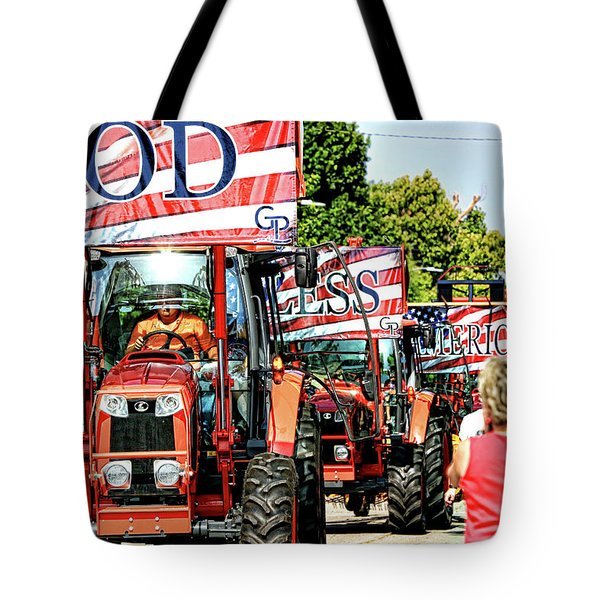 Tote Bag featuring the photograph God Bless America And Farmers by Toni Hopper