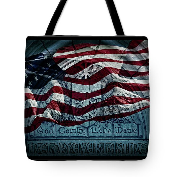 God Country Notre Dame American Flag Tote Bag