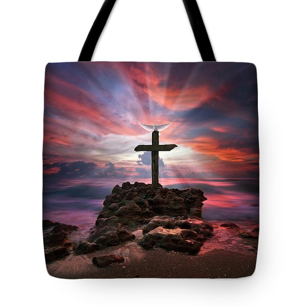 Tote Bag featuring the photograph God Is My Rock Special Edition Fine Art by Justin Kelefas